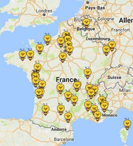 carte des apiculteurs du réseau Un Toit Pour Les Abeilles